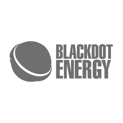 Renewable Energy Company. Blackdot Energy Logo in grey