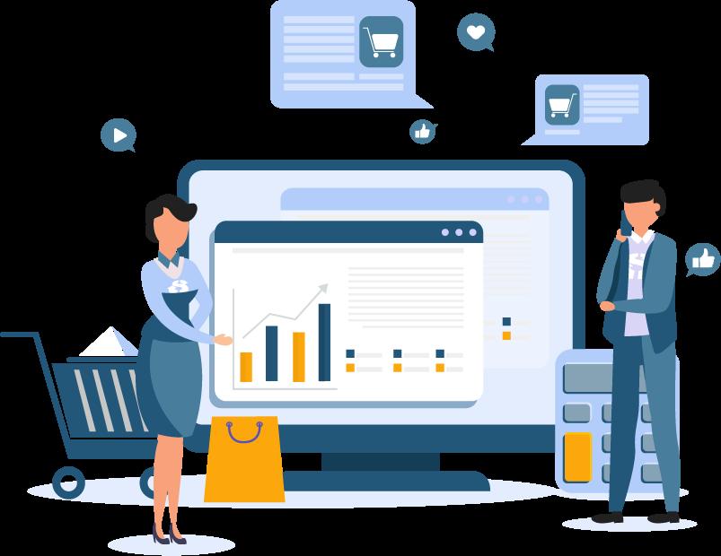 Flat Modern design of wesite template - Digital Marketing Services
